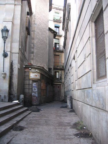 Alley in Barcelona prepped for filming
