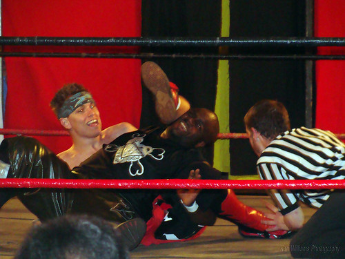 Evan Gelistico wears down Shorty Biggs during the LWA Tag Team Title match. Photo by Kari Williams