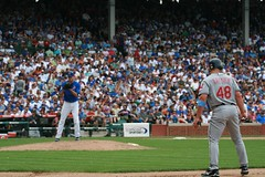 Sean Marshall looks back Travis Hafner (mikepix) Tags: chicago baseball cleveland indians cubs wrigleyfield 2009 bullpinbox