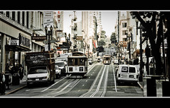 Powell Street, San Francisco (KC Tan Photography) Tags: sanfrancisco street urban usa photo streetphotography tram kc powellstreet streetshot tramline desaturate