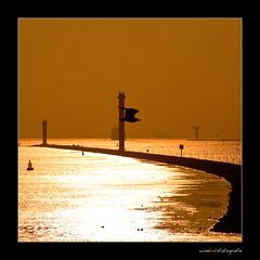 Sunset between the Piers ( WimKok) Tags: canon eos50d lightroom sunset zonsondergang pieren hoekvanholland hookofholland rotterdam holland haven port noordzee northsea lighthouse vuurtoren meeuw seagull gull river rivier water