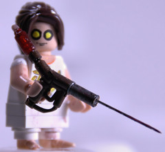 Bioshock Little Sister w/syringe (Catsy [CC]) Tags: mod lego painted syringe minifig custom modification littlesister catsy explored bioshock brickarms flickr:user=catsy lego:scale=minifig