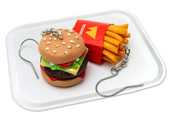 Want some fries with your burger? (weggart) Tags: food miniature burger fastfood mini frenchfries polymerclay fimo fries hamburger earrings minifood polymer weggart