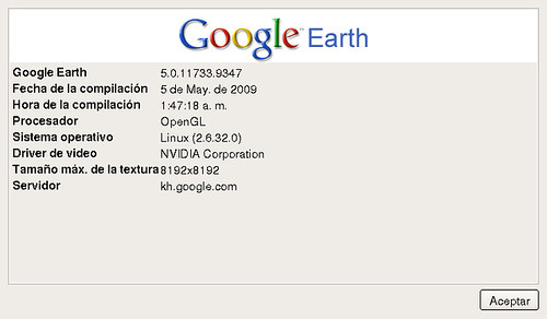 Versión Google Earth