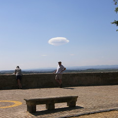 Everywhere you go... (Annie in Beziers) Tags: sky cloud france bench square tourists belvedere streetscenes bummer stnazaire crowdedhouse bziers explorefrontpage annieinbziers zerofm orcloudedhouse