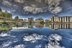 Reflected Shore (elementalPaul) Tags: sky reflection water clouds scotland edinburgh pentax tripod shore leith hdr waterofleith sigma1020mm theshore photomatixpro 5xp k10d pentaxk10d
