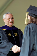Colin Powell shaking hands