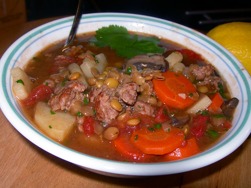 Sausage Lentil Mexicali Soup