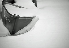 Snow Canoe (ginfox) Tags: winter shadow bw white lake snow black cold west virginia boat blackwhite canoe wv valley float cannan ginfox