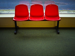 (_cassia_) Tags: red reflection green three brighton chairs postoffice row trio triple