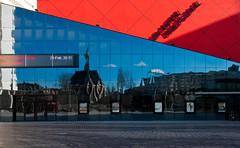 Colors - Lines - Reflection (Ferdi's - World) Tags: sky reflection netherlands clouds tram denhaag gps ferdi thehague zuidholland nieuwekerk drantonphilipszaal aplusphoto lucentdanstheater ferdisworld