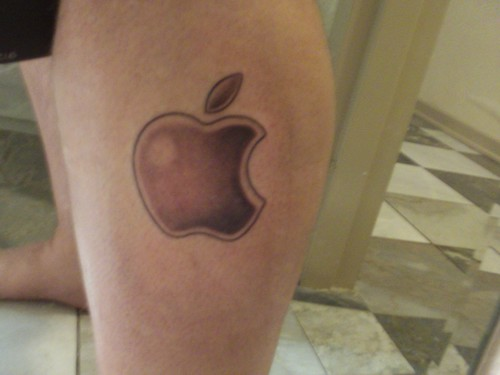 Apple Tattoo left leg Apple logo!