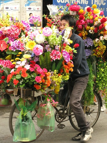 Overburdened bicycle flower vendor - Hanoi, Vietnam