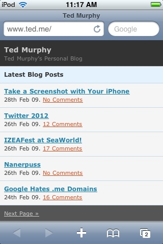 Ted.me Home page on iTouch