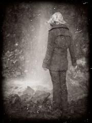North Cascades Waterfall (Dave Ward Photography) Tags: park trip blackandwhite bw nature sepia washington nationalpark unitedstates north national cascades duotone wilderness northcascades northcascadesnationalpark rosslake