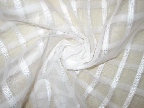 White Cotton Organdy Fabric Leno Dobby Plaids Design 44