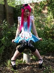 alice, lush style (linzi.lush) Tags: pink blue hair neon dress makeup bow heels pinkhair bows leggings aliceinwonderland shinyleggings