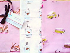 Heather Ross fabrics (belle and rose) Tags: pink white goldfish bikes fabric combi dreambikes heatherross lightningbugsandothermysteries