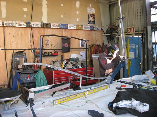 Jay Broemmel welding the head tube on El Arbol.