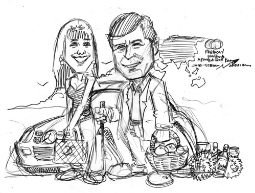 Couple caricatures for Mastercard Mr & Mrs Sekulic pencil sketch 1