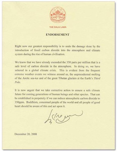 Dalai Lama's 350 Endorsement Letter