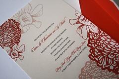 Red peony flower wedding invite card (Nineteen Design Studio) Tags: flowers red studio design peony nineteen weddinginvitation
