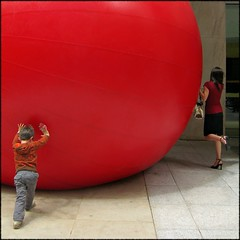 On different sides of the globe (Now and Here) Tags: boy red sculpture mars woman toronto ontario canada festival canon ball pose square kid big pumps venus fb arts large skirt powershot size explore sidewalk purse installation redball huge push bmo kingstreet 1x1 fcp mostviewed firstcanadianplace redplanet view500 explore122 fave10 a570 a570is luminato fave50 kurtperschke fave25 nowandhere davidfarrant