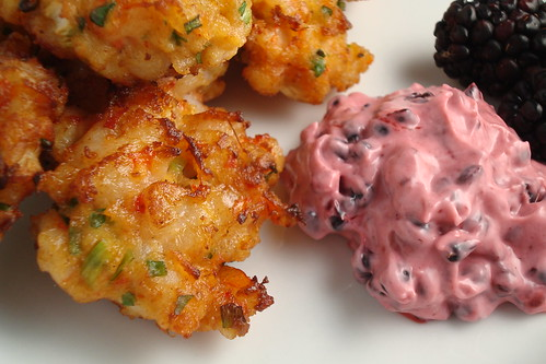 Shrimp Cake with Blackberry Dipping Sauce