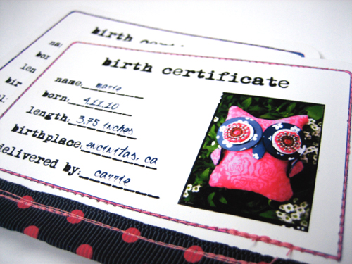 Owl Birth Certificates