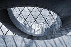 France - Paris - Louvre Spiral - blue (Darrell Godliman) Tags: travel blackandwhite bw copyright paris france