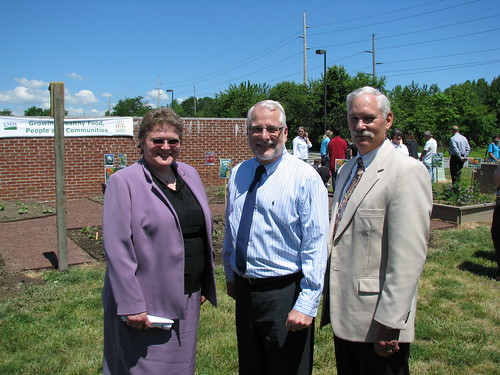 At the New Dover, Delaware People's Garden: (Left to Right)  Deputy Under Secretary for Rural Development Cheryl L. Cook; Chief Dave White, Natural Resources Conservation Service; and Under Secretary for Farm and Foreign Agricultural Services Michael Scuse.