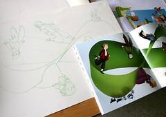 Ilustración impresa e esbozo a lapis