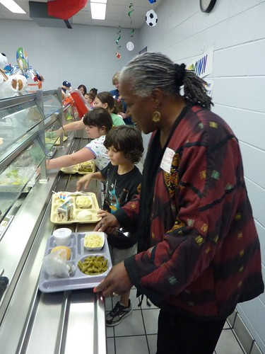 Deputy Administrator Audrey Rowe joins the Fishers Elementary School lunch line.