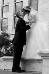 Ashley & Duaine (Krissy Anne) Tags: wedding bw white black love temple happy kiss december day veil dress kentucky joy louisville mormon 2008 tux lean crestwood