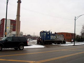 Central Illinois Railroad lcomotive returning to the storage yard on a winter morning. Chicago Illinois. January 2007.
