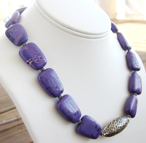 Purple Love Necklace - Purple Turquoise and Hammered Sterling Silver Bead Necklace