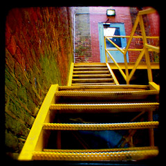 Yellow Steps to Blue (mulevaline) Tags: door blue yellow climb nc steps duaflex hillsborough ttv throughtheviewfinder