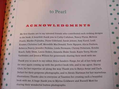 Button It Up - the top of the acknowledgments page
