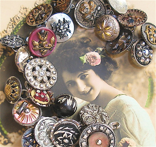 Vintage Victorian button sterling silver charm bracelet, jewelry jewellery.