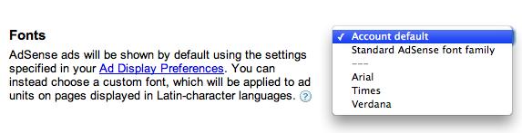 AdSense Fonts