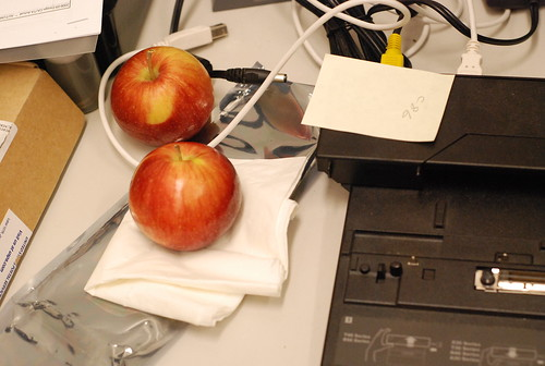 Apples on desk
