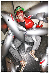 .styleSHARK. (.SANCHEZ.) Tags: wild man sunglasses leather photoshop canon gold crazy cool interesting funny shiny colorful photographer sandiego vibrant portait teeth elevator odd glossy identity exotic inflatable converse sharks dots cheesy chucks clutter borat visor sanchez clubscene pooltoys pokervisor nightlifephotographer thestylesharkcom bendecamp thestyleshark blowupsharkswitheyebrows kennysanchez