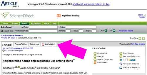 ArticleLinker display for a ScienceDirect article