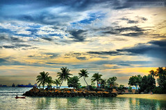 Siloso (kristian.eric) Tags: sunset sky beach clouds nikon singapore colorful palmtrees oasis seashore hdr siloso d90 pseudohdr 18105mm kristianm