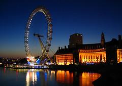 4AM (Poteet Photo) Tags: nightphotography blue england orange white reflection london lights londoneye riverthames greatbritian theunitedkingdom