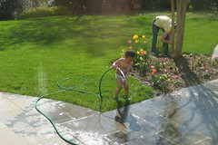 Owen watering the plants