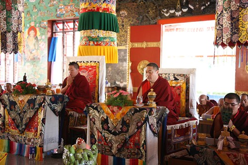 Kyabje Khyentse Yangsi Rinpoche (left) and Kyabje Shechen Rabjam Rinpoche (right) visit Namdroling