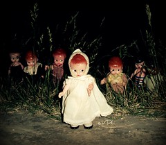 Nobody is staying behind (Voodoolady ) Tags: vintage dolls hard plastic rattle knickerbocker