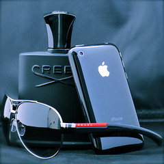 Daily Survival Kit (Northwickpark) Tags: apple sunglasses perfume 3g sunglass prada aviator aviators fragrance creed iphone greenirishtweed