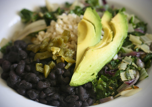 Black Beans and Rice with Chard and Avocado